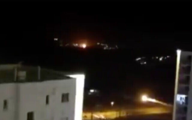 Illustrative An explosion is seen in the night sky near Tehran in a video posted online by the country's Fars news agency, June 26, 2020. (ScreenshotTwitter)