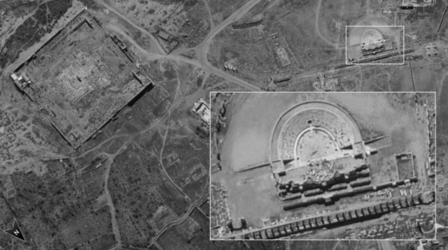 Photo taken by Ofek 16 satellite over Syria showing the remains of the Roman amphitheater at the ancient site of (Defense Ministry)