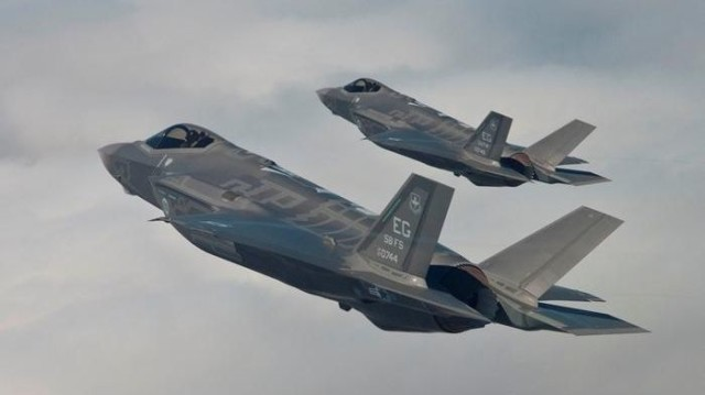 F-35 Lightning II multi-role stealth fighter aircraft.