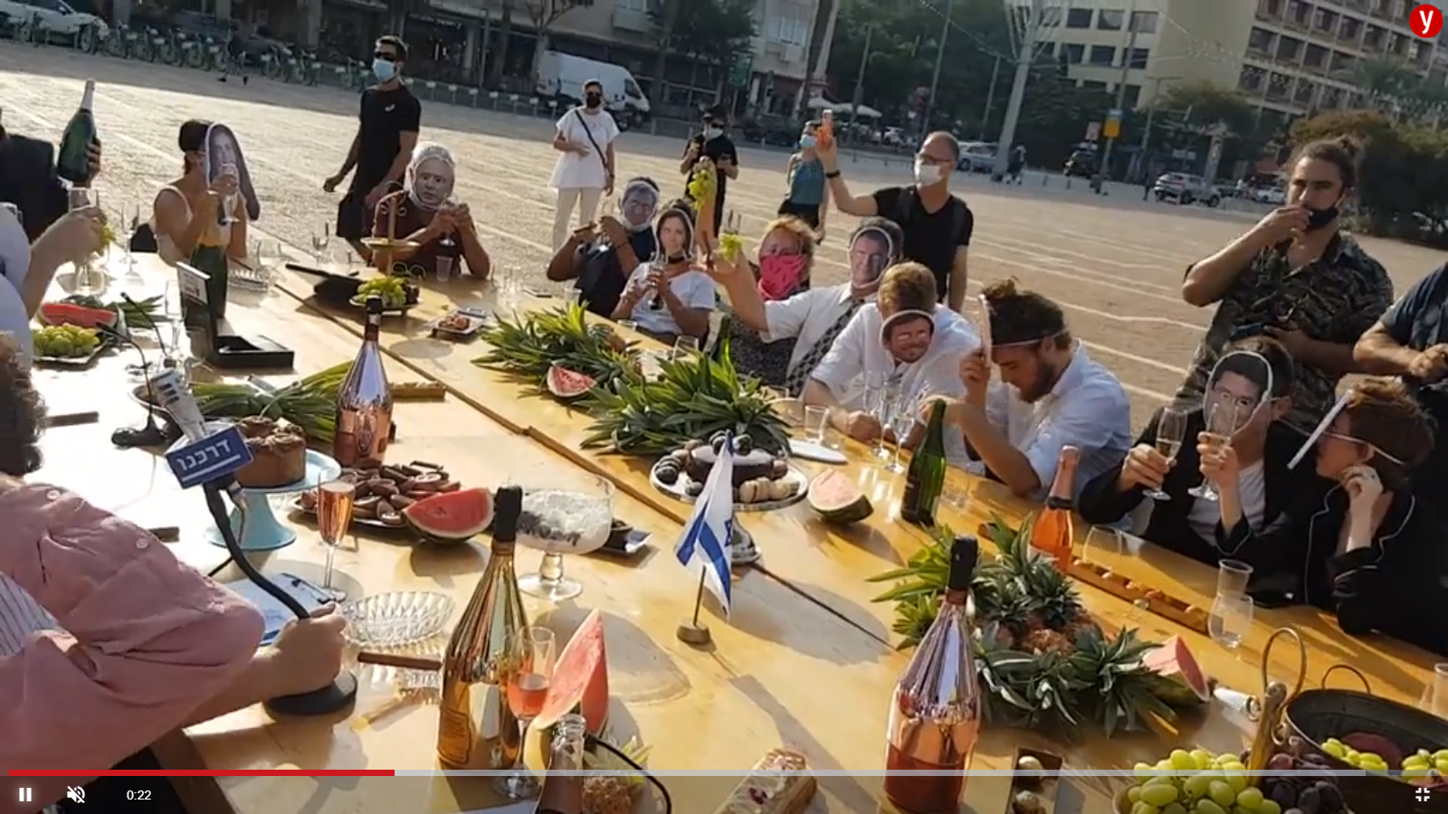 TLV Activists Criticize Netanyahu's Gov't in Rabin Square: Festive of Ministers Drinking Champagne / Screenshot